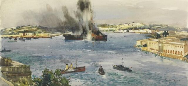 File:The End of a French Transport - Lazaretto Creek, Malta Art.IWMART3103.jpg