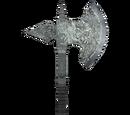 Durable Silver Battle Axe