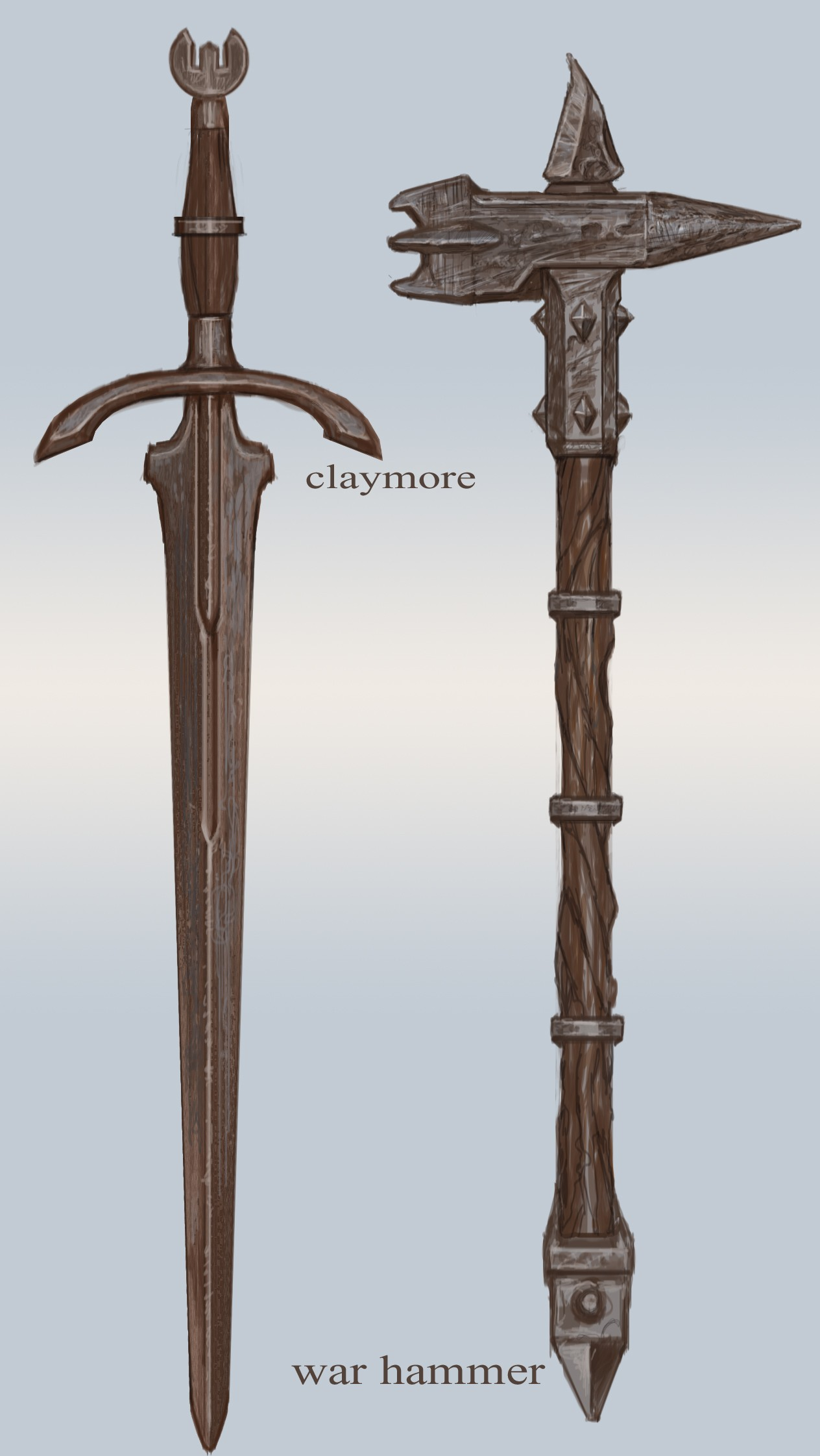 Fichier:Iron Claymore and Warhammer.jpg