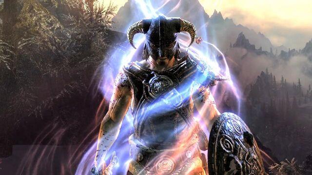 ไฟล์:Skyrim dovahkiin consuming a dragon soul.jpg