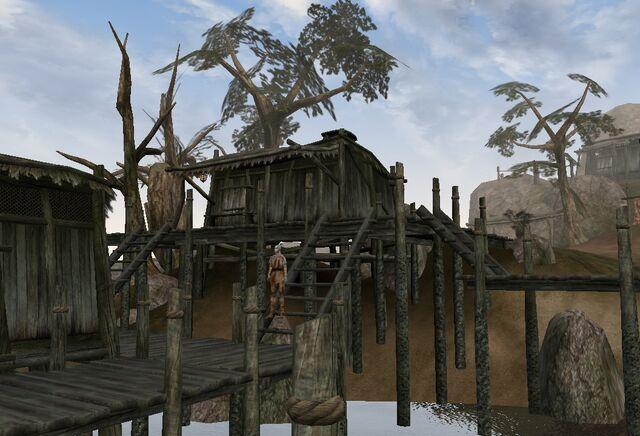 File:TES3 Morrowind - Ald Velothi - Llerar Vinden's Shack exterior.jpg