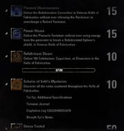 Halls of Fabrication Achievements - 3