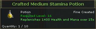 Crafted Medium Stamina Potion