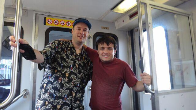 File:Alex (right) is a huge fan of transit as well.jpg