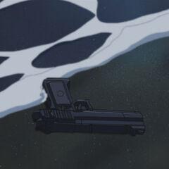 Bando's gun on the shore.