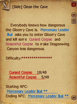 Quest clean the cave