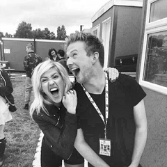 Alex (right) making faces with Ellie Goulding
