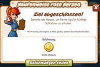 Haufenweise rote Herzen Belohnung (German Reward text)