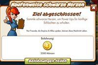 Haufenweise schwarze Herzen Belohnung (German Reward text)