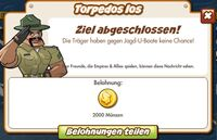 Torpedos los Belohnung (German Reward text)