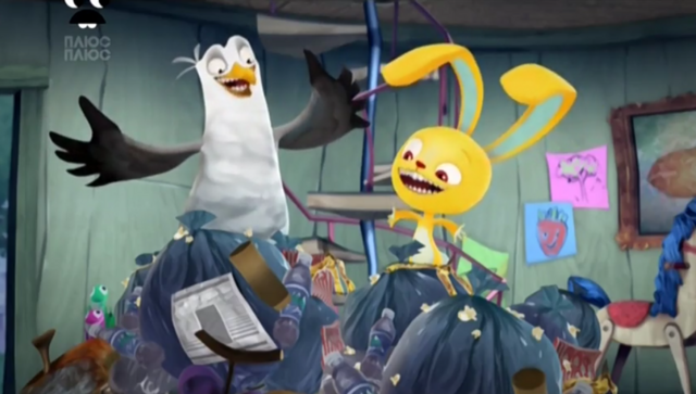 File:Pickle and Gull bring garbage in the stump - Pickle Says...Relax!