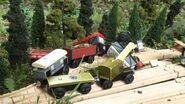Trucks in a heap