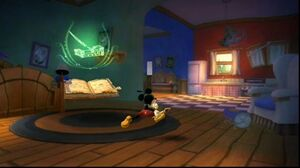 Mickey running in his house