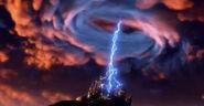 Dark beauty castle being struck by lightning