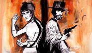 Bruce Lee vs Clint Eastwood Drawing