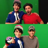 Brian Walters as Ash Ketchum with Peter and Lloyd
