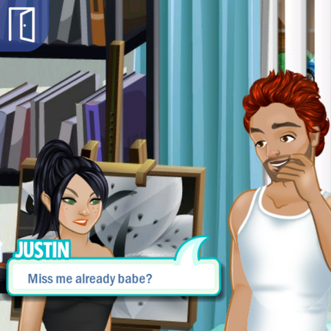 Justin breaks into Angie's room and tries to conquer her back