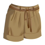 Tan Pleated Shorts