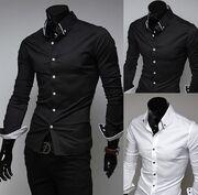 Black Satin Dress Shirt with a Mandarian collar