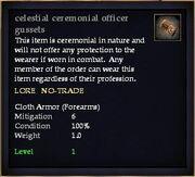 Celestial ceremonial officer gussets
