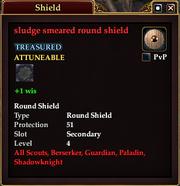 Sludge smeared round shield