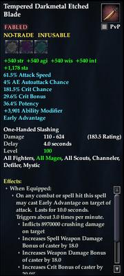 Tempered Darkmetal Etched Blade