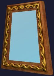 Polished wooden mirror (Visible)