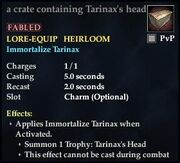 A crate containing Tarinax's head