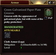 Green Galvanized Paper Plate Greaves