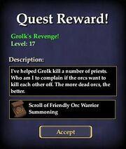 Grolk's Revenge! Reward