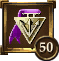 Icon Achievement purple triangle medal 50
