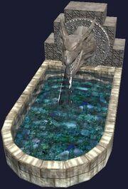 A dragon head fountain (Visible)