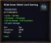 Klak'Anon Metal Lord Earring