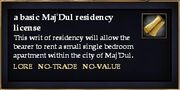 A basic Maj'Dul residency license