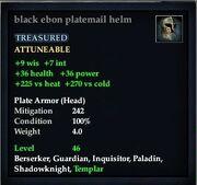 Black ebon platemail helm