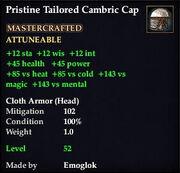 Pristine Tailored Cambric Cap