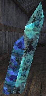 Sharp blue crystals (Visible)