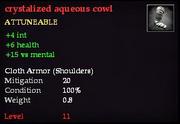 Crystalized aqueous cowl