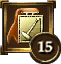 Icon Achievement ribbon orange rect gold hammer 15