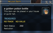 A golden potion bottle