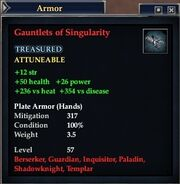 Gauntlets of Singularity