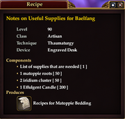 Notes on Useful Supplies for Baelfang