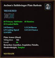 Archon's Faithbringer Plate Barbute