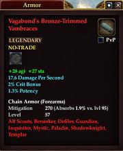 Vagabond's Bronze-Trimmed Vambraces