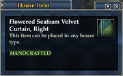 Flowered Seafoam Velvet Curtain, Right