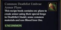 Common Deathfist Umbrae Armor Plans