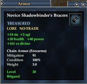 Novice Shadowbinder's Bracers