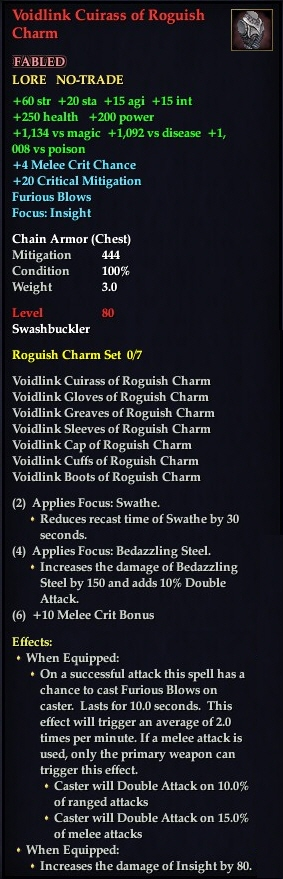 voidlink cuirass of roguish charm everquest 2 wiki
