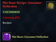 War Rune Recipe- Gossamer Deflection