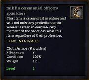 Militia ceremonial officers spaulders